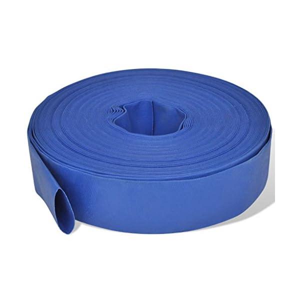 "mewmewcat Fire Hose Flat Water Discharge Hose 50 m 2"" PVC Blue 1"