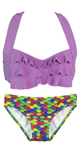 Fin Fun Mermaidens - costume bikini donna con reggiseno a balze stile sirena Cascata arcobaleno/Viola