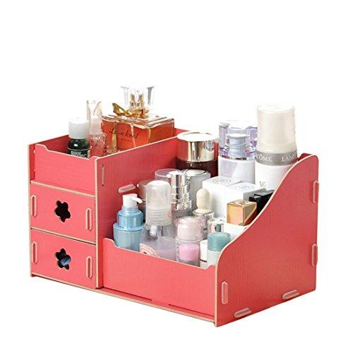 JuneJour DIY Maquillage Tiroir de Rangement Multifonction Boîte à Bijoux en Bois Support pour Stylo/Soins de la Peau de Home/Office/Bureau