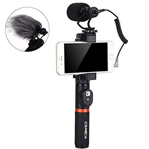 Comica Smartphone Video Kit CVM-VM10-K3 Filmmaker Griff mit Shotgun Video Mikrofon Video Rig für iPhone X 8Plus 8 7Plus 7 Samsung Huawei etc. (Bluetooth Fernbedienung im Lieferumfang enthalten)