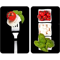 WENKO 2521451100 Protège-plaque universel Caprese - lot de 2, pour tous les types de cuisinières, Verre trempé, 30 x 52 cm, Multicolore