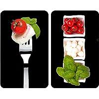 WENKO 2521451100 Cubre vitro de cocina Universal Caprese - juego de 2 piezas para todos los tipos de cocinas, Vidrio endurecido, 30 x 1.8-4.5 x 52 cm, Multicolor