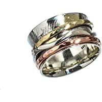 Anillos de plata de banda ancha para mujer,Kanika Jewelry Trove Womens Rings, Vintage Style 925 Solid Sterling Silver Spinner Ring