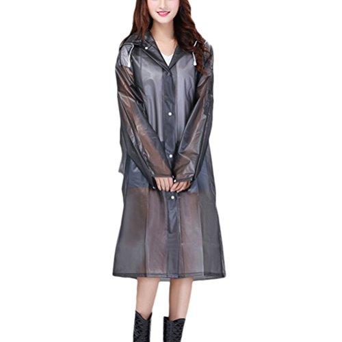 Zhhlinyuan Travel Portable Adult Reuseable Fashion Long Sleeves Showerproof Raincoat gray