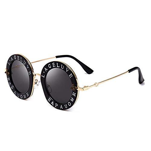 ANLW Sonnenbrille Letter Bee Round Sonnenbrille für Männer & Frauen, Men ' S Driving Fashion Retro Sports Eyewear,A1