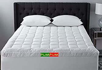 PumPum 600 GSM Hollow Fibre Mattress Padding/Topper For 5 Star Hotel Feel   White