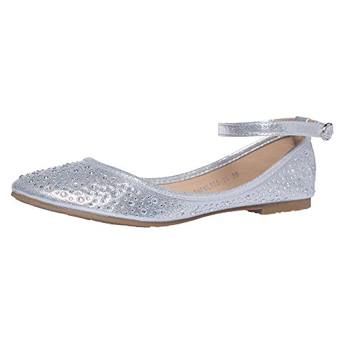 SheSole Damen Geschlossene Ballerinas (One Size Larger Than Usual) Silber