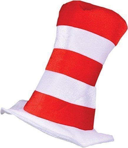 Katze Kopfbedeckung Kostüm (Kleid Kostüm Party Geschnürt Zubehör Dr Seuss Gestreiftes Top Katze Im Hut Rot/weiß - Rot/weiß,)