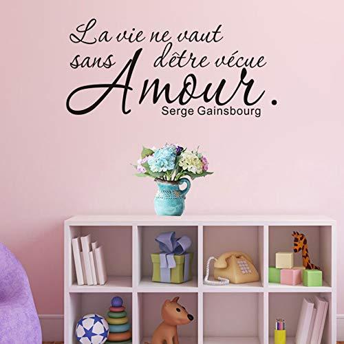 Xlei camera da letto citazioni francesi romantici citazioni wall sticker nero murale soggiorno porta camera da letto adesivi decorazione della casa in vinile