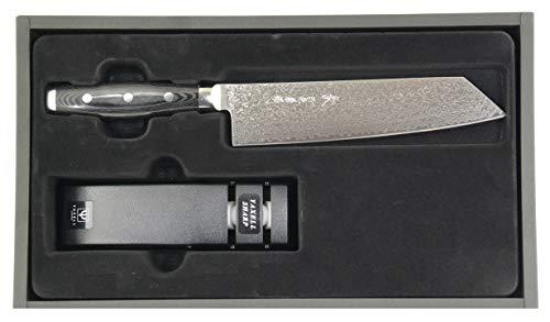 Yaxell Gou 101 Geschenkbox Damastmesser Kiritsuke-Messer 20 cm Klinge + Yaxell Messerschärfer