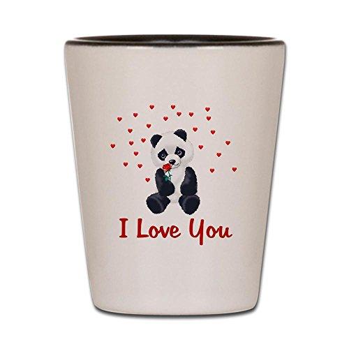 Bären Custom Schwarz T-shirt (CafePress Schnapsglas Panda Bear Love weiß/schwarz)