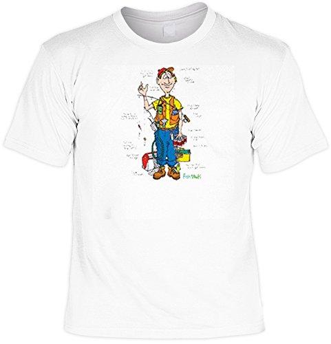 Angler Shirt /T-Shirt/Baumwoll-Shirt lässiger Fischer-Aufdruck: Anatomy of a Fischerman - cooles Motiv Weiß