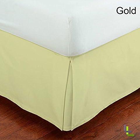 100% coton égyptien Personnes Finition élégante boîte 1tour plissé massif (Longueur: 76,2cm), Coton, Gold Solid, UK_King