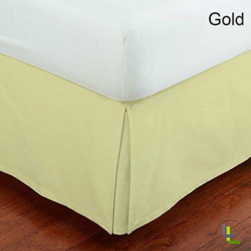 Set 100% ägyptische Baumwolle elegant Finish 1Box Bundfaltenhose Bettvolant massiv (Drop Länge: 71,1cm), baumwolle, Gold Solid, - Und Bettwäsche Weiß Chevron Gold