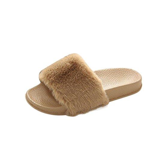 Amlaiworld donna soffice pelliccia finta pantofola piatta,♥confortevole e morbido♥ (kaki, eu:39)