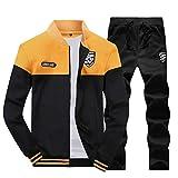 LaoZanA Hombre Chándal 2 Piezas Conjuntos Deportivos Pantalones + Chaquetas Sweatshirt Amarillo L