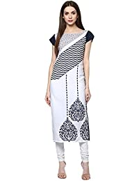 [Sponsored Products]Ziyaa Women's White Color Self Print Straight Crepe Kurta (ZIKUCR1490)