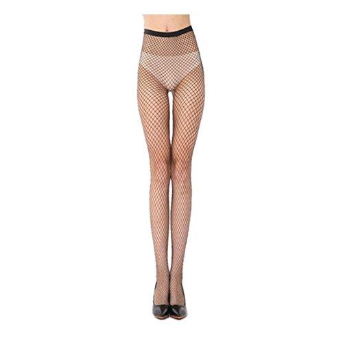 Ularma Fashion Tights Damen Schwarz Mesh Fischnetz Strumpfhose High Waist Spitze Strümpfe (B) (Stretch-große Loch-fischnetz-strumpfhose)