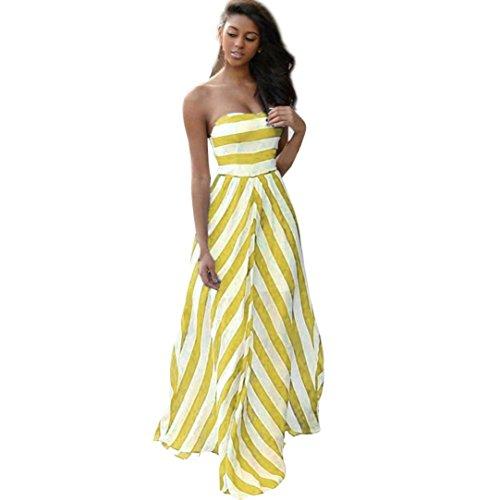 Price comparison product image Hansee Women Strapless Striped Boho Maxi Dress Slash Neck Party Beach Dress Sundress (Yellow