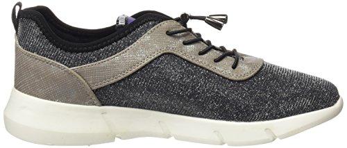 MTNG Damen Ferrata Sneakers Silber (Nurexin Plata / Santo Plata / Licra Negro)