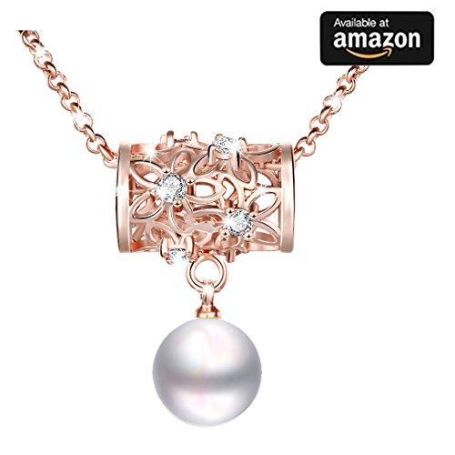 Jewelry SELTENHEIT Fashion Rose Gold Hohl Out Set Schlangenbohrer Zylindrische drehbar Halskette mit weiß Perlen Anhänger Schmuck