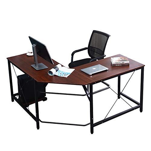 soges L-Form Eckschreibtisch Computertisch Winkelschreibtisch, 150 cm + 150 cm großer Gaming Schreibtisch Bürotisch Ecktisch Arbeitstisch PC Laptop Studie Tisch, Walnuss ZJ02-WA-N
