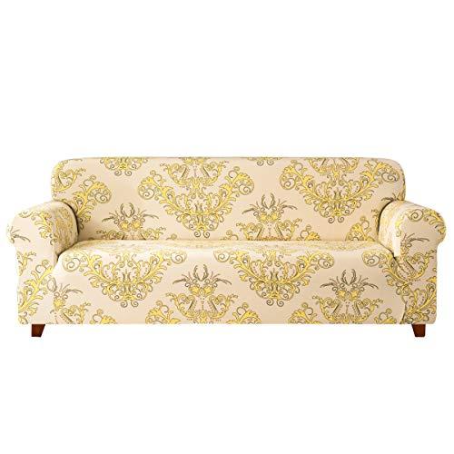 Subrtex Elastisch Sofa Überwürfe Sofabezug Barock Sofahusse 1 Stück Stretch Abdeckung Für Couch Sessel Blumen Wohnkultur(2 Sitzer, Gelbes Muster)