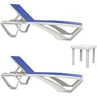 Resol set de 2 tumbonas Acqua estructura blanca, textilene azul y 1 mesa auxiliar Andorra