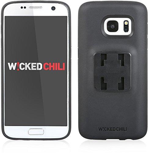 QuickMOUNT 3.0 Fahrrad Halterung für Samsung Galaxy S7 (SM-G930F) Bike Kit mit Case und Regenhülle (Handyhalterung, Ladekabel- und Kopfhörer Anschluss) schwarz / matt