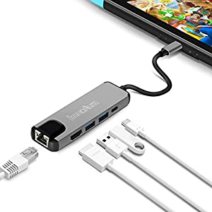 USB C Hub Multistecker Adapter, innoAura 5-IN-1 Typ C Hub mit 4K USB C auf HDMI, Ethernet Stecker, USB-C Netzteil, 2 USB 3.0 Stecker für Nintendo Switch, Macbook Pro und andere USB-C Laptops