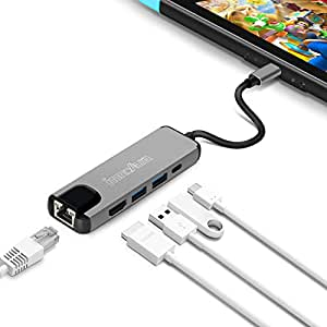 innoAura Nintendo Switch Type C Hub Multiport Adapter USB C Dock Station with 4K HDMI Converter, USB-C PD Charging Port, Gigabit Ethernet, 2 USB 3.0 Ports for Nintendo Switch, Work as Switch Dock