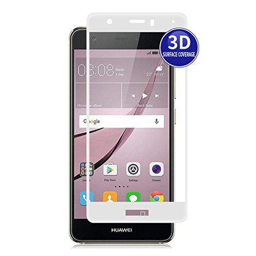 X-Dision Huawei Nova (Weiß) 3D Schutzfolie Vollbildschutz Premium HD-Komplettabdeckung 9H Härten von Glasschutz Anti-Fingerabdruck & Anti-Shatter