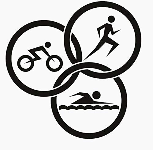 Extreme Sport Triathlon Wandaufkleber PVC Wohnzimmer Das Schlafzimmer Küche Und Fitnessstudio Aufkleber 56x57 cm