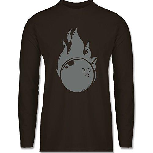 Bowling & Kegeln - Bowling Flammen Ball einfarbig - Longsleeve / langärmeliges T-Shirt für Herren Braun
