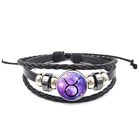 Axibi Élégant Femme Hommes Strass 12 Constellations Bracelet en cuir perlé tissé Pendentif Bijoux Cadeaux (Taurus)
