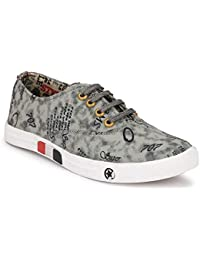 Harmeet Men's Sneaker Casual Canvas Shoes-Grey