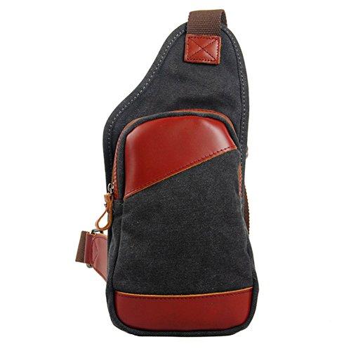 GSPStyle Unisex Canvas Leder Tasche Brusttasche Herrentasche Freizeit Stil Schultertasche Sporttasche Dunkelgrau