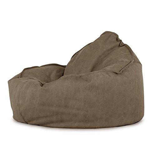 Lounge Pug, 'Mini-Mammoth' Sitzsack, Sessel, Stonewashed-Stoff Erde