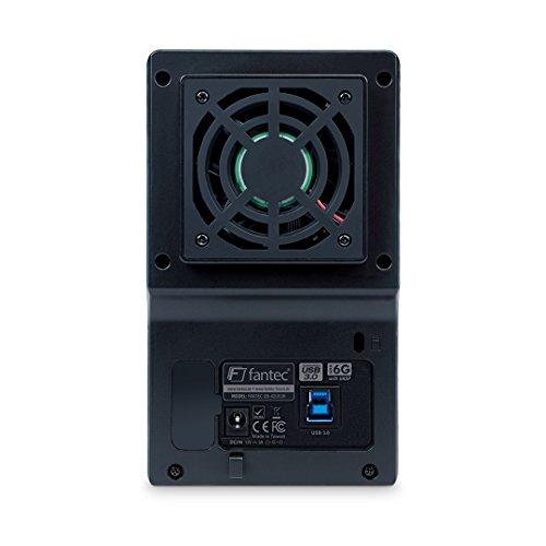 FANTEC QB-X2US3R Externes 2-fach Festplattengehäuse (für den Einbau von 2x 8,89 cm (3,5 Zoll) SATA I/II/III Festplatten, USB 3.0 SUPERSPEED Anschluss, RAID Funktion (0/1/JBOD/BIG Modus), 60 mm Lüfter temperaturgeregelt, Aluminium Gehäuse) schwarz