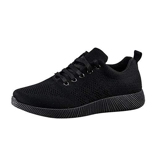 e Damen Schuhe Schwarz Sommer Student Fitness Brief Outdoor Laufschuhe Sneakers Erhöhen Hohl Fliegendes Atmungsaktive Freizeitschuhe Espadrille Leichte ()