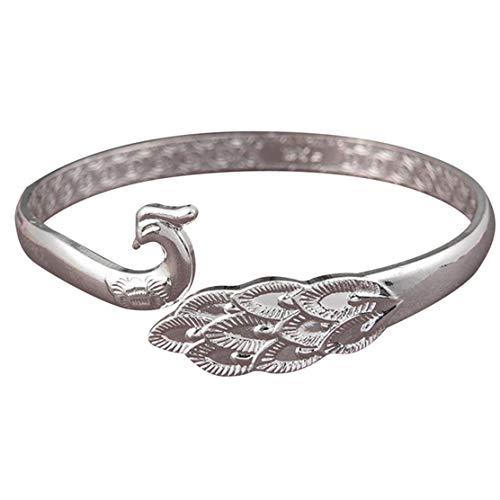 YSINFOD Vintage Tier Armband Einstellbar Pfau Ring Eröffnung Armband Armreif Dame Frau Schmuck Geschenke Silber Farbe