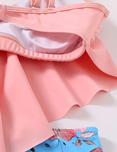 DaiLiWei Badeanzüge für Damen, hohe Taille, Badeanzug, Flounce Bikini Sets Print Tankinis - - Small - 6