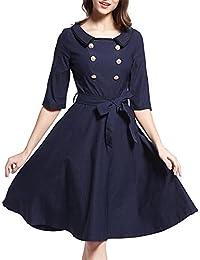 DaBag- Charmant Hepburn 50s de solapa color puro Retro media manga longitud de la rodilla