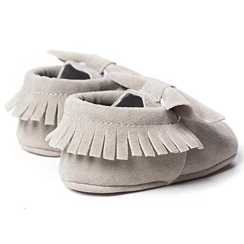 Elyseesen Baby Crib Tassels Bowknot Chaussures Toddler Sneakers Souliers Casual Gris