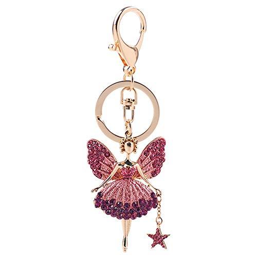 Vektenxi Premium-Qualität Mode Strass Ballett Mädchen Schlüsselbund Autotasche Brieftasche Ornament Schlüsselanhänger Kette