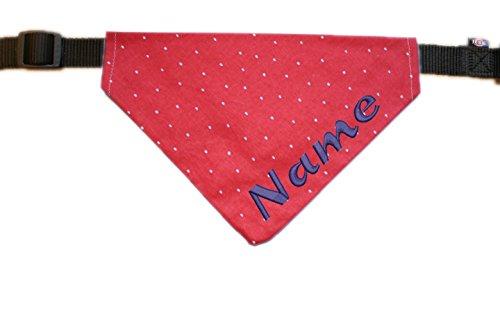 Halstuch mit Name bestickt für Hunde - Farbe rot mit Pünktchen - inkl. Halsband - Größe M - L