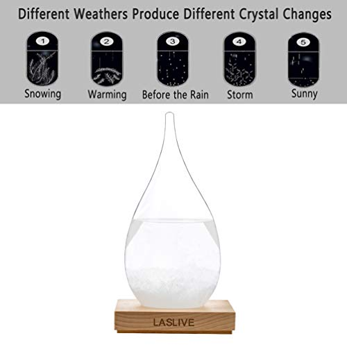 LASLIVE Stylish Deskstop Waterdrop Shape Transparent Storm Glass Wooden Base - Unique Weather Forecaster - Best for Gift - The Most Dazzling Decorations on Various Occasion. (Large)