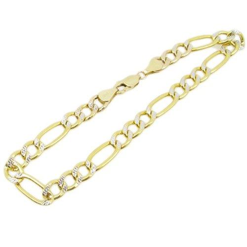 Herren-Halskette 10 k Gelb gold fancy Diamant Schnitt figaro kubanischen mariner link Armband AGMBRP3 21.59 es cm groß und 7 mm breit (10 K Gold Herren Halskette)