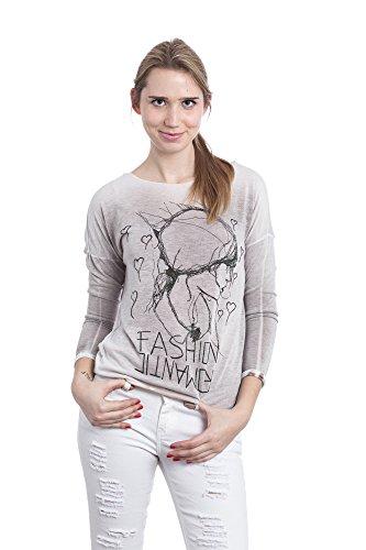 Abbino 15524 Magliette Tops Ragazze Donne - Made in Italy - Multiplo Colori - Mezza Stagione Primavera Estate Autunno Semplici Maniche Lunghe T-Shirts Shirts Casual Saldi Maglie Tempo Libero Fango (Art. 15524-1)