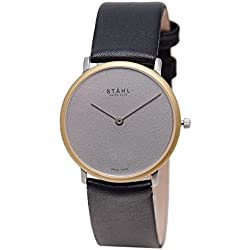 Stahl SWISS MADE Wrist Watch Model: ST61125 - Gold Plated - MidSize 30mm Case - Plain Grey Dial